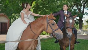 De bruid en bruidegom, die handen de houden, zitten op prachtige paarden in een mooi groen park op de dag van hun huwelijk stock videobeelden