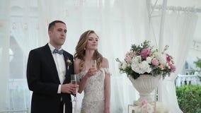 De bruid en de bruidegom hebben pret bij het huwelijksbanket Jong houdend van huwelijkspaar in tent stock footage