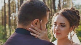 De bruid en de bruidegom in liefde, die elkaar in een mooi groen bos in de zon bekijken Close-upgezichten van jonggehuwden stock footage