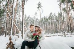 De bruid en de bruidegom met een boeket zitten op de openings van een sessieachtergrond van het sneeuw bos de Winterhuwelijk kuns royalty-vrije stock fotografie