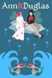 De bruid en de bruidegom met transparante vleugels vliegen zitting op een wolk boven de overzeese golven Malplaatje voor uitnodig royalty-vrije illustratie