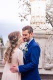 De bruid en de bruidegom omhelzen Stock Afbeelding