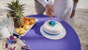 De bruid en de bruidegom snijden samen de huwelijkscake op een zandig overzees strand Een fascinerend ogenblik Tropische Filippij stock videobeelden