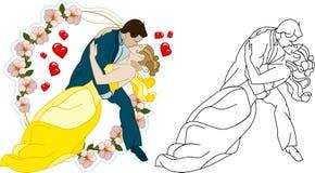 De bruid en de bruidegom kussen Royalty-vrije Stock Foto