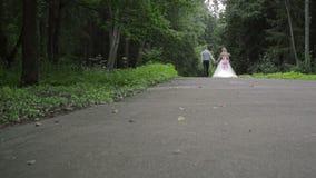 De bruid en de bruidegom lopen in het hout stock footage