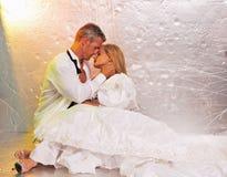 De bruid en de bruidegom omhelzen Royalty-vrije Stock Afbeelding