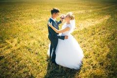De bruid en de bruidegom op de achtergrond van gebied Royalty-vrije Stock Foto