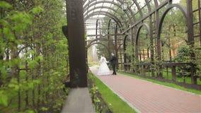 De bruid en de bruidegom stellen aan fotograaf openlucht stock videobeelden