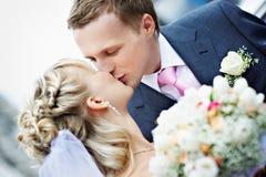 De bruid en de bruidegom van de kus bij huwelijk Stock Afbeelding