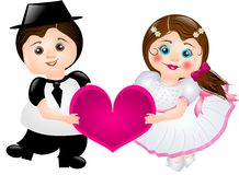 De bruid en de bruidegom van het beeldverhaal Royalty-vrije Stock Foto's