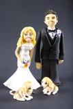 De Bruid en de Bruidegom van het fondantje met het Huwelijk Topper van Honden Stock Afbeelding