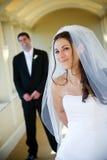 De bruid en de bruidegom van het huwelijk Stock Afbeeldingen