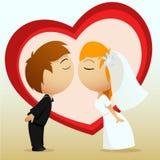De bruid en de bruidegomkus van het beeldverhaal Stock Foto