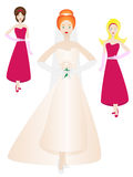 De bruid en de bruidsmeisjes stellen binnen Stock Fotografie