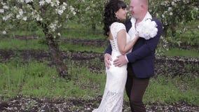 De bruid en verzorgt een romantische gang in de appelboomgaard stock videobeelden