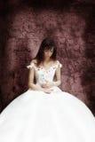 De bruid met de witte kat Royalty-vrije Stock Fotografie
