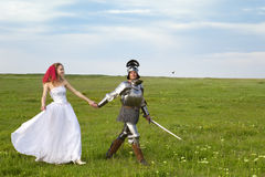 De Bruid van de prinses en haar ridder/huwelijk royalty-vrije stock foto's