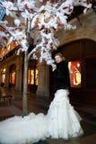 De bruid van de schoonheid dichtbij kunstmatige boom in grote winkel Stock Foto's