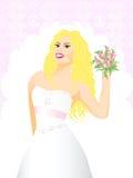 De bruid van de schoonheid met bloem op huwelijksachtergrond Stock Fotografie