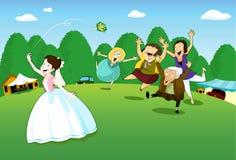 De bruid werpt bloemboeket Stock Foto's