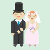 De bruidegom en de bruid van het huwelijkspictogram Royalty-vrije Stock Afbeeldingen