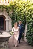 De bruidegom het lopen en de bruid Royalty-vrije Stock Afbeeldingen
