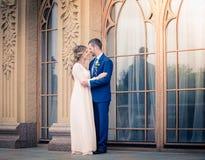 De bruidegom het lopen en de bruid Royalty-vrije Stock Fotografie