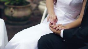 De bruidegom houdt de hand van zijn bruid stock video