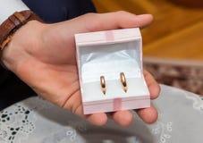 De bruidegom houdt een doos van de juwelengift met gouden trouwringen Stock Foto