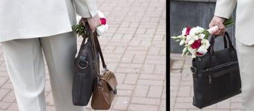 De bruidegom houdt het Bruids boeket royalty-vrije stock afbeelding
