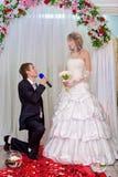 De bruidegom knielt en doet een verklaring van liefde aan de bruid Stock Foto