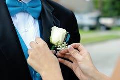 De bruidegom krijgt corsage royalty-vrije stock foto's