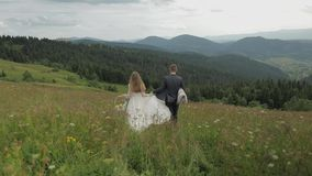 De bruidegom met bruid gaat voor een picknick op een bergheuvels Het Paar van het huwelijk Familie stock videobeelden