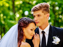 De bruidegom omhelst bruid Stock Fotografie