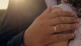 De bruidegom omhelst de bruid in een park in de zonneschijn stock video