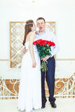 De bruidegom in schok Stock Foto