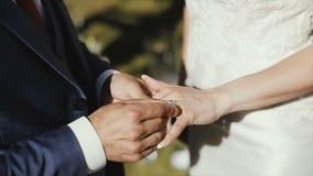 De bruidegom zet de trouwring op vinger van de bruid huwelijk Handen met ringen Het bruid en bruidegomuitwisselingshuwelijk stock videobeelden