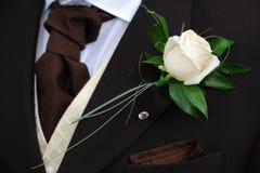 De bruidegoms bloeien en halsdoek. stock afbeelding