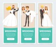 De bruiden in wit huwelijk kleden zich en bruidegoms in zwart kostuum, gelukkige enkel echtparen, huwelijksbanners geplaatst vlak stock illustratie