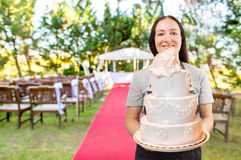De bruids cake is klaar stock foto