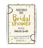 De bruids doucheuitnodiging met goud schittert tekst en punten Royalty-vrije Stock Afbeelding