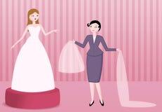 De bruids illustratie van de kledingsboutique Stock Fotografie
