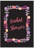 De bruids Uitnodiging van de Douchekaart met waterverfbloemen Stock Foto