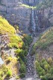 De bruidssluierdalingen is 607 voet-lange 185 van de dubbele cataractmeters waterval in het zuideneind van Provo-Canion, dicht bi stock foto's