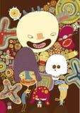 De bruine affiche van glimlachen Stock Afbeeldingen