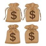 De bruine dollars van de geldzak abstect op witte achtergrond vector illustratie