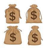De bruine dollars van de geldzak en gebruikt om te verfraaien stock illustratie