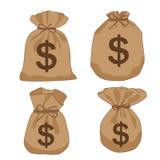 De bruine dollars van de geldzak royalty-vrije illustratie