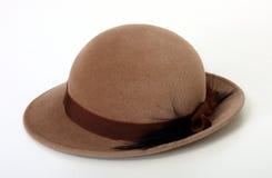 De bruine hoed van de Bowlingspeler/van de Derby Royalty-vrije Stock Foto's