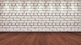 De bruine houten lijstbovenkant op de achtergrond is een witte oude baksteen Schijnwerpereffect op de muur - kan voor vertoning w vector illustratie